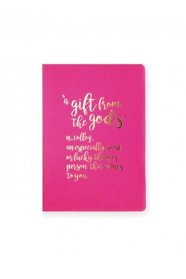 A Gift From The Gods Hot Pink Slogan A6 Notebook