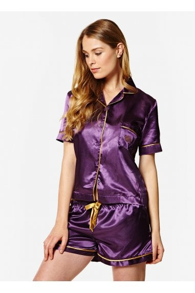 A Gift From The Gods Purple Satin Shorts PJ Set