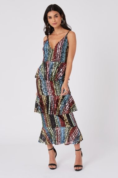 Trixie Rainbow Sequin Tiered Ruffle Midi Dress