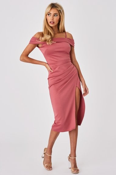 Rose Pink Bardot Midi Dress