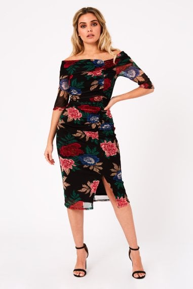 Betsy Black Floral-Print Bardot Midi Dress