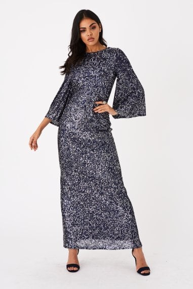 Zela Black Sequin Angel Sleeve Maxi Dress