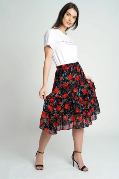 Black Floral Chiffon Mini Ruffle Skirt