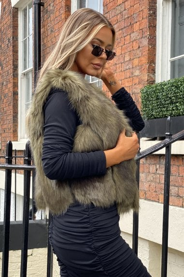 Estelle Faux Fur Gilet in Khaki