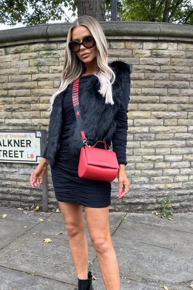 Estelle Faux Fur Gilet in Black