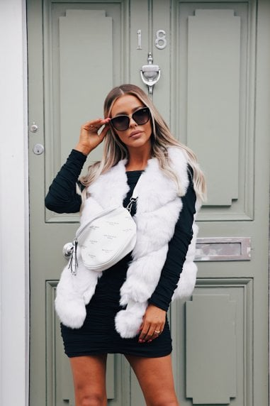 Grace Faux Fur Gilet in White