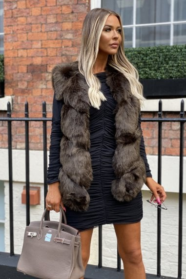 Grace Faux Fur Gilet in Khaki