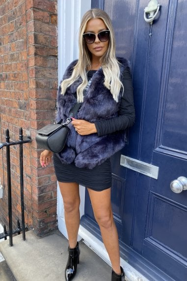 Grace Faux Fur Gilet in Navy