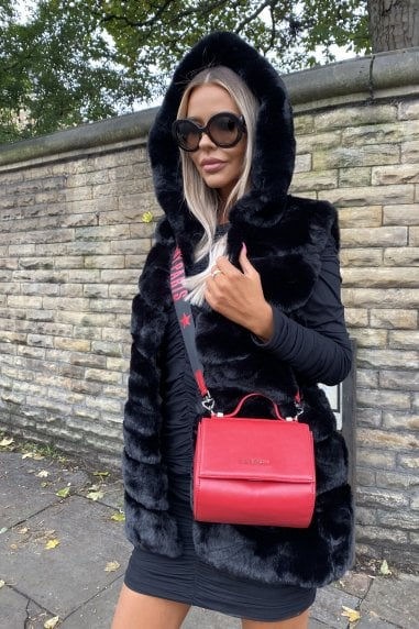 Jade Hooded Faux Fur Gilet in Black