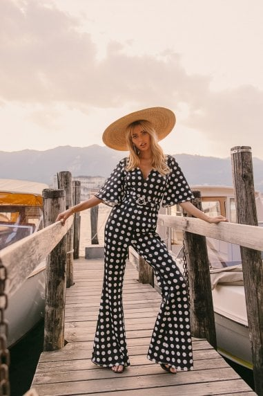 Monochrome Spot Self-Belt Jumpsuit