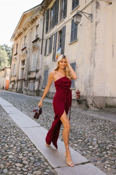 Burgundy One-Shoulder Maxi Dress