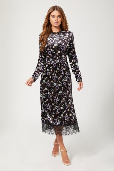Narcissa Black Floral-Print Velvet Midi Dress