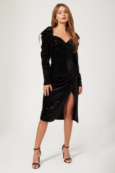 Zadie Black Velvet Foil Spot Puff Sleeve Midi Dress