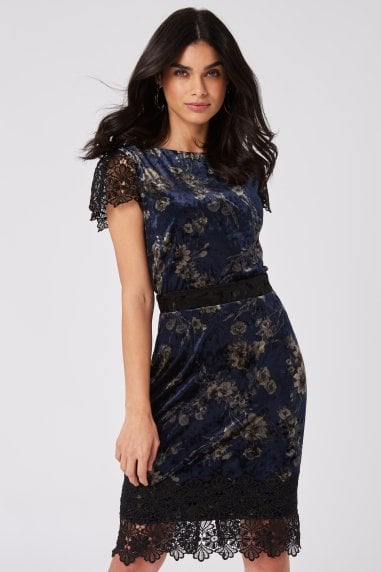 Moura Navy Velvet And Lace Hem Pencil Dress