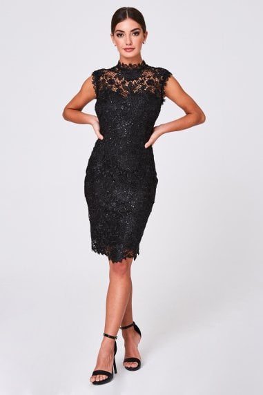 Arna Black Crochet-Lace Sequin Dress