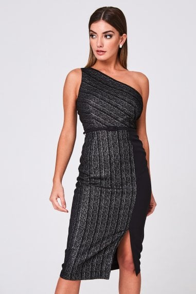Olwen Black Metallic Stripe Jacquard One-Shoulder Belted Midi Dress