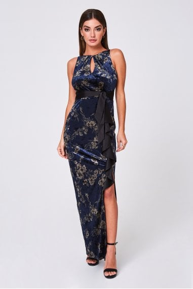 Caraway Navy Printed Velvet Maxi Dress