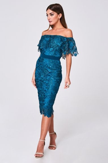 Terran Teal Crochet-Lace Bardot Midi Dress