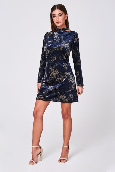 Calla Navy Printed Velvet Shift Dress