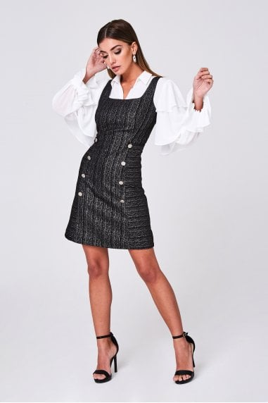 Magnus Black Metallic Stripe Jacquard Pinafore Dress