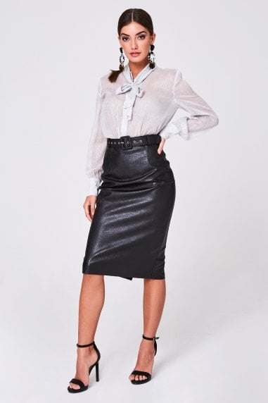 Selene Black Belted PU Midi Skirt