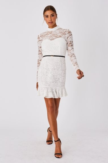 Carman White Lace Belted Peplum Mini Dress