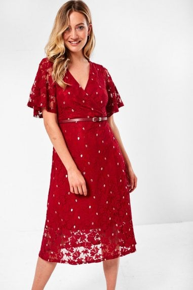 Aoife Floral Lace Dress in Wine