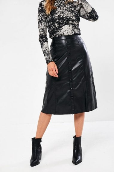 Gill A-Line Faux Leather Midi Skirt in Black