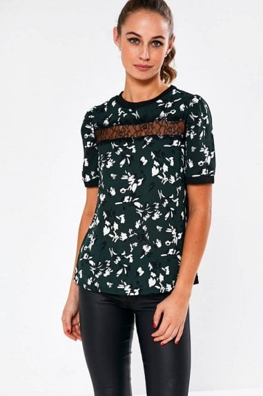 Natahsa Floral Print Top in Green
