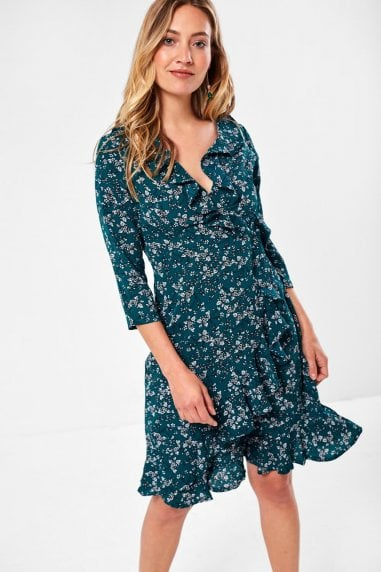 Reagan Ditsy Floral Wrap Dress in Emerald