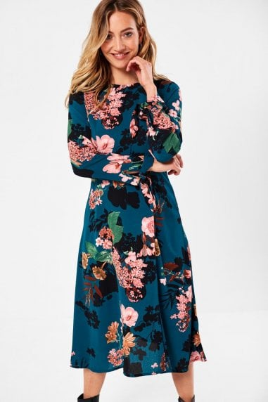 Juliet Floral Print Midi Dress in Emerald
