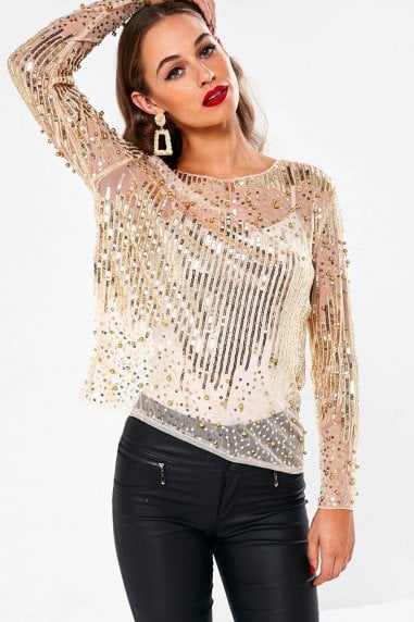Alexander Sheer Top with Sequin Detail in Nude
