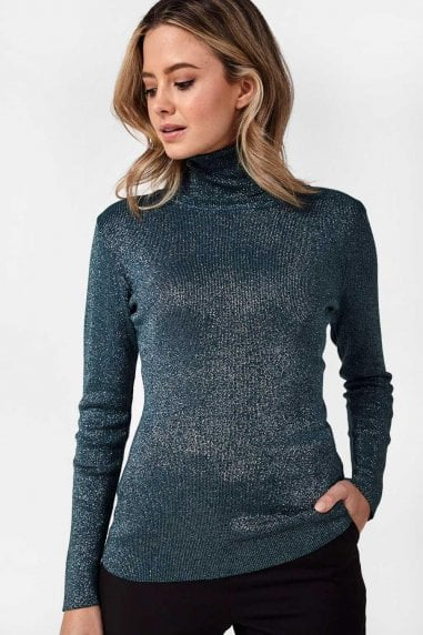 Greg Lurex Polo Neck Top in Green