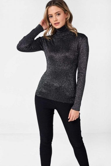 Greg Lurex Polo Neck Top in Black