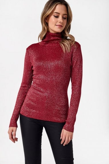 Greg Lurex Polo Neck Top in Wine