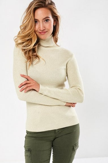 Greg Lurex Polo Neck Top in Gold