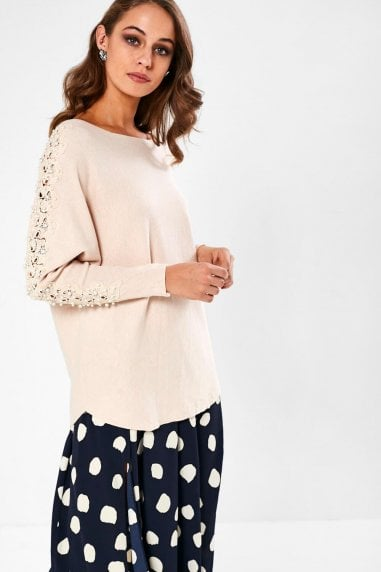 Clodagh Jumper with Pearl Detail in Natural