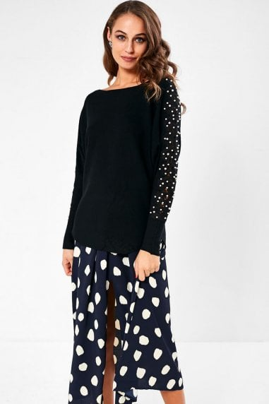 Clodagh Jumper with Pearl Detail in Black