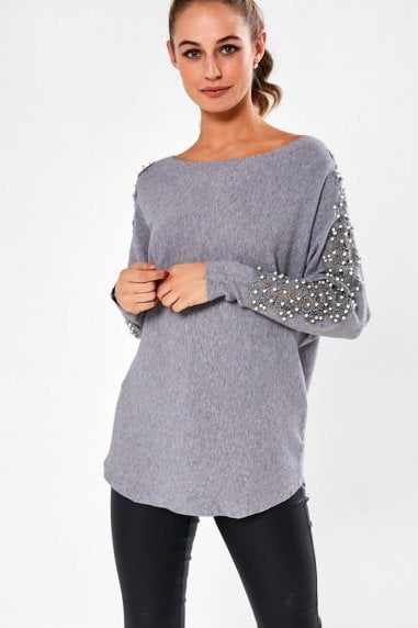 Clodagh Jumper with Pearl Detail in Grey