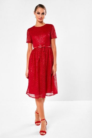 Halia Crochet Dress With Sequin Detail in Red