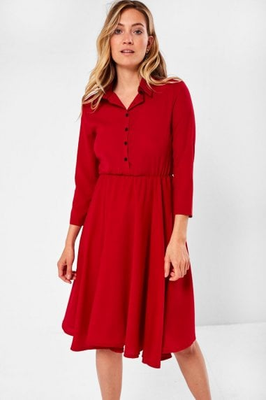 Siyana Belted Shirt Dress in Wine