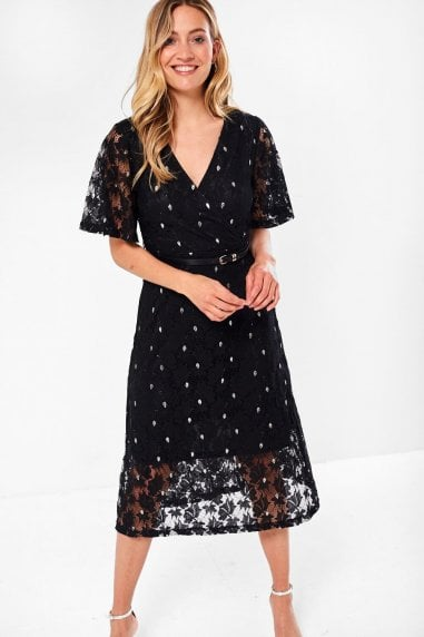 Aoife Floral Lace Dress in Black