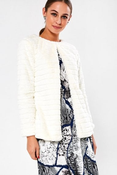 Karen Cropped Faux Fur Jacket in Cream