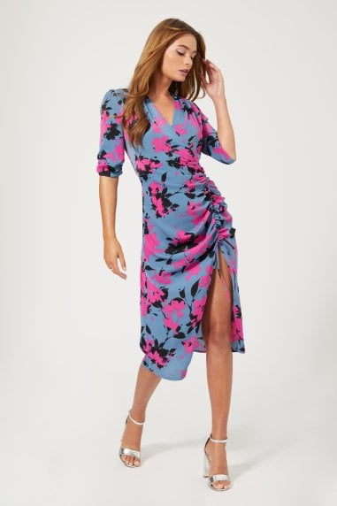 Honor Floral-Print Ruched Midi Dress