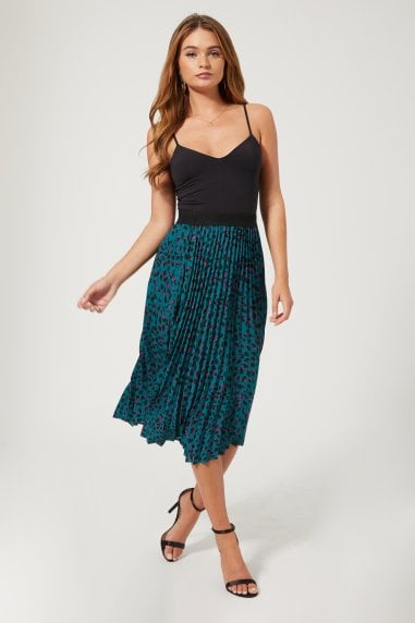 Prospect Teal Leopard-Print Pleated Midi Skirt