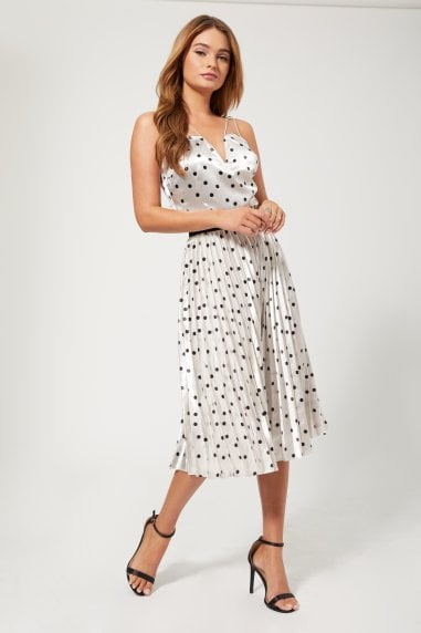 Prospect Silver Polka-Dot Pleated Midi Skirt