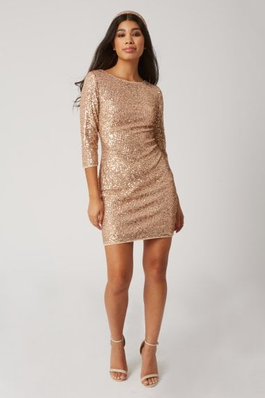 Chalet Gold Sequin Bodycon Dress