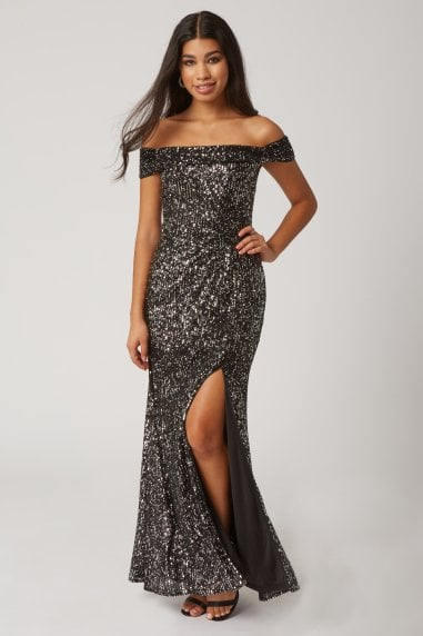 Onyx Black Sequin Bardot Maxi Dress