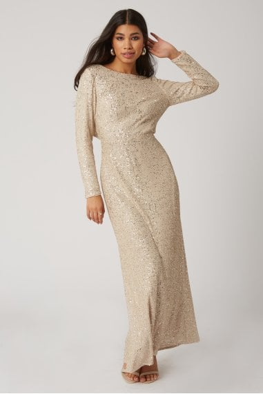 Zedel Champagne Sequin Maxi Dress