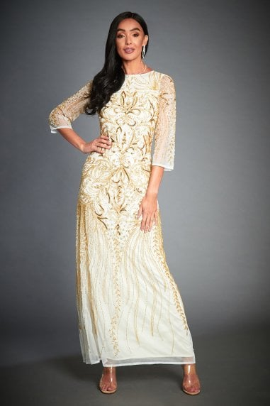 TESSY (OFF-WHITE) GOLD EMBELLISHED EVENING LONG SLEEVE MAXI DRESS